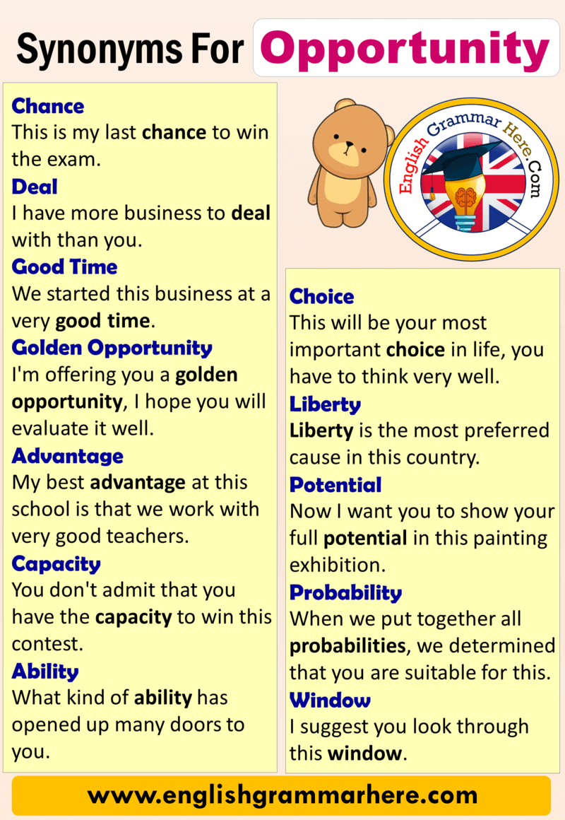 English Synonyms Opportunity, Definition and Examples The word opportunity  means moving to an adva… in 2020 | English vocabulary words, Vocabulary  words, Feeling words list