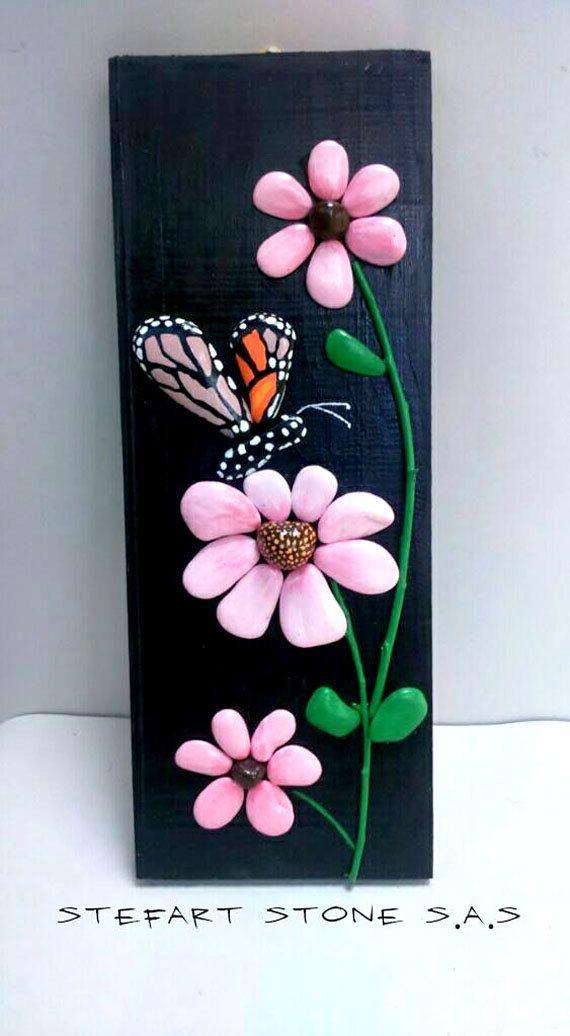 Butterfly And Flowers Handpainted Stones Pebble Art Stone Art Pallet Wood Handmade Painting Rocks Home Deco Piedras Pintadas Manualidades Cuadros Piedras