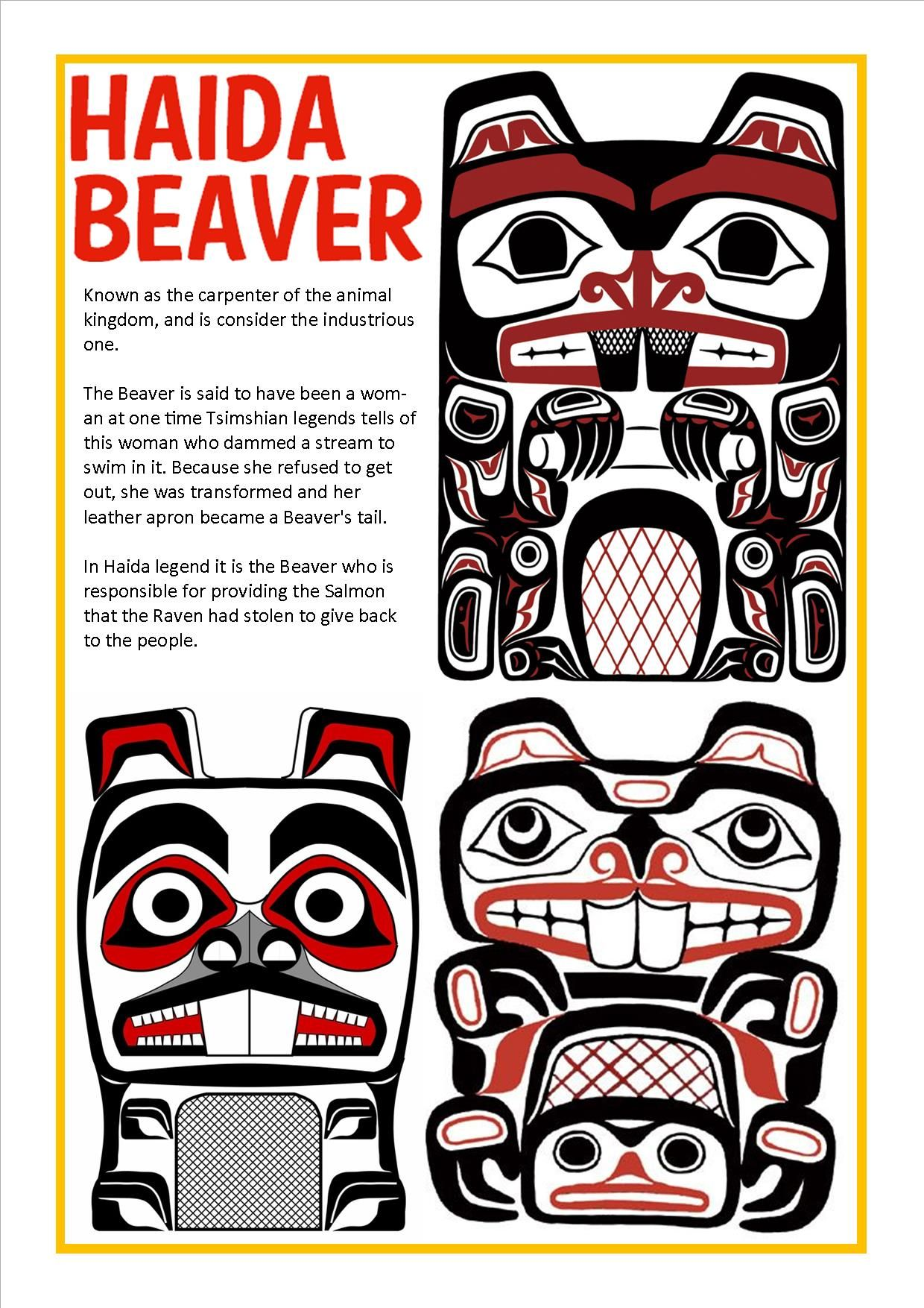 Coloring Beaver Totem Pole