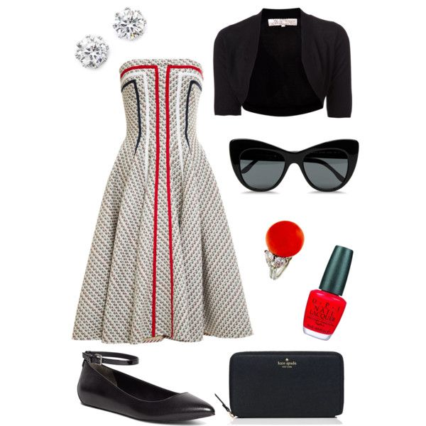 A fashion look from February 2015 featuring Thom Browne dresses, Lela Rose cardigans and Brooks Brothers flats. Browse and shop related looks.