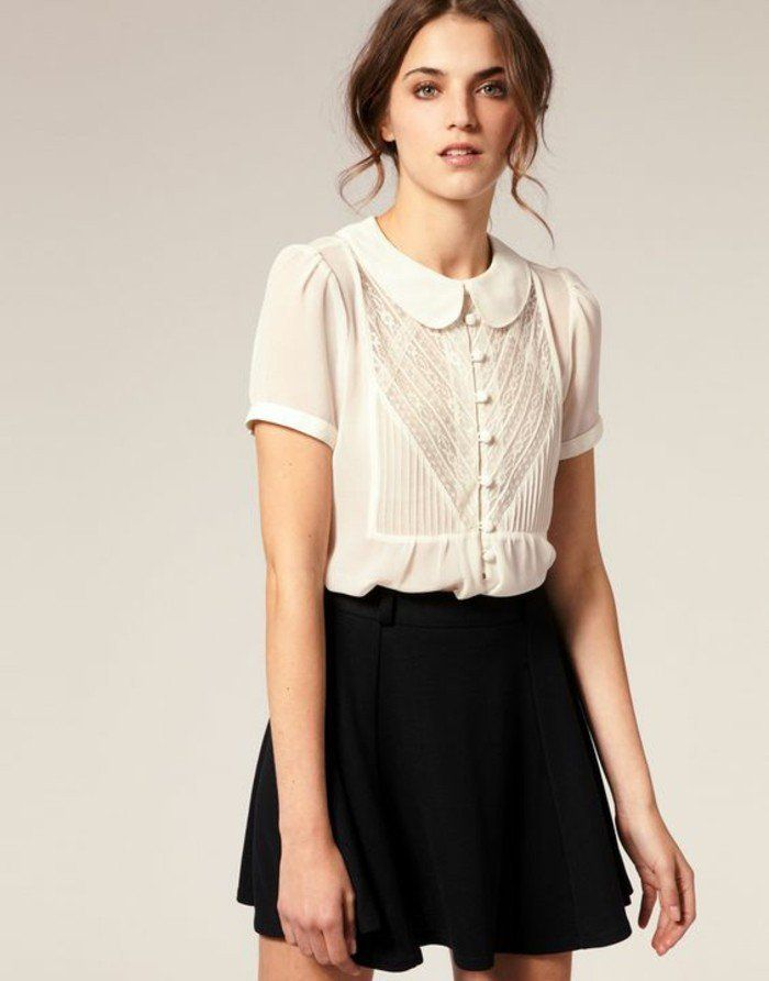 1dc0f769097 une jupe évasée combinée avec chemisette femme à col claudine de style rétro