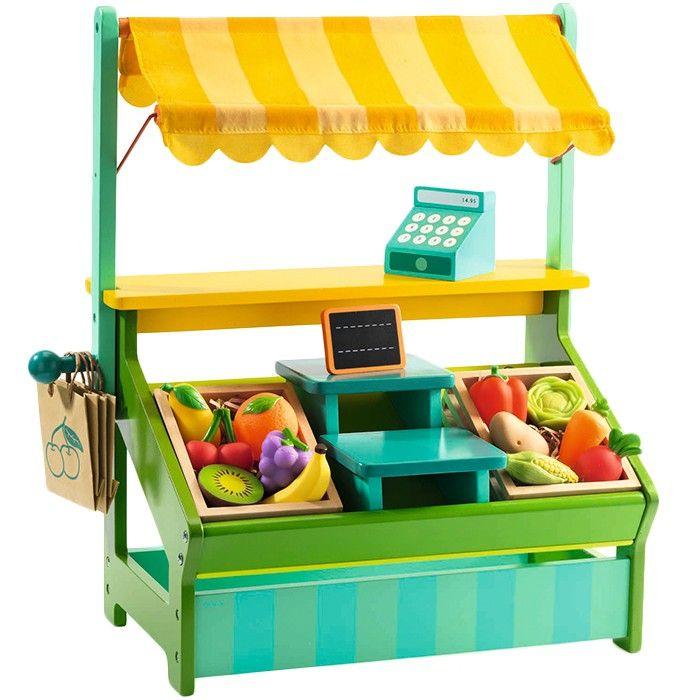 Puesto de mercado de madera con completo kit de instrumentos necesarios para jugar a vender