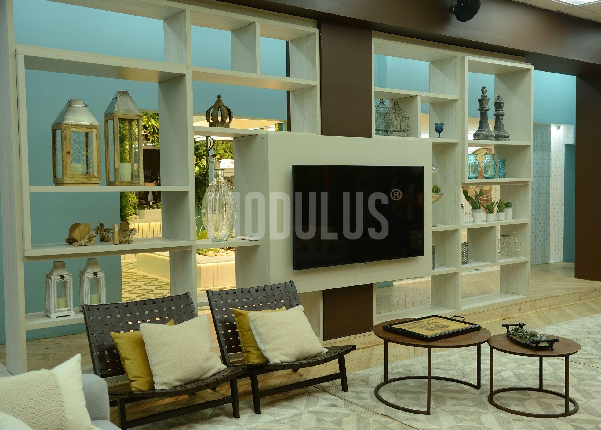 Mueble De Tv Biblioteca Divisor De Ambientes Modulus Fotos  # Muebles Bibliotecas Para Living