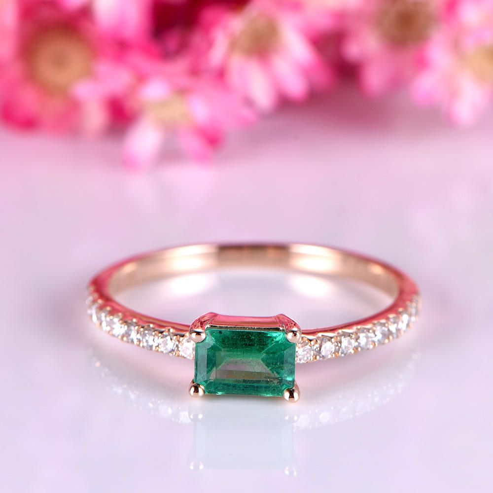 Emerald engagement ring 3x5mm emerald-cut natural emerald ring full ...