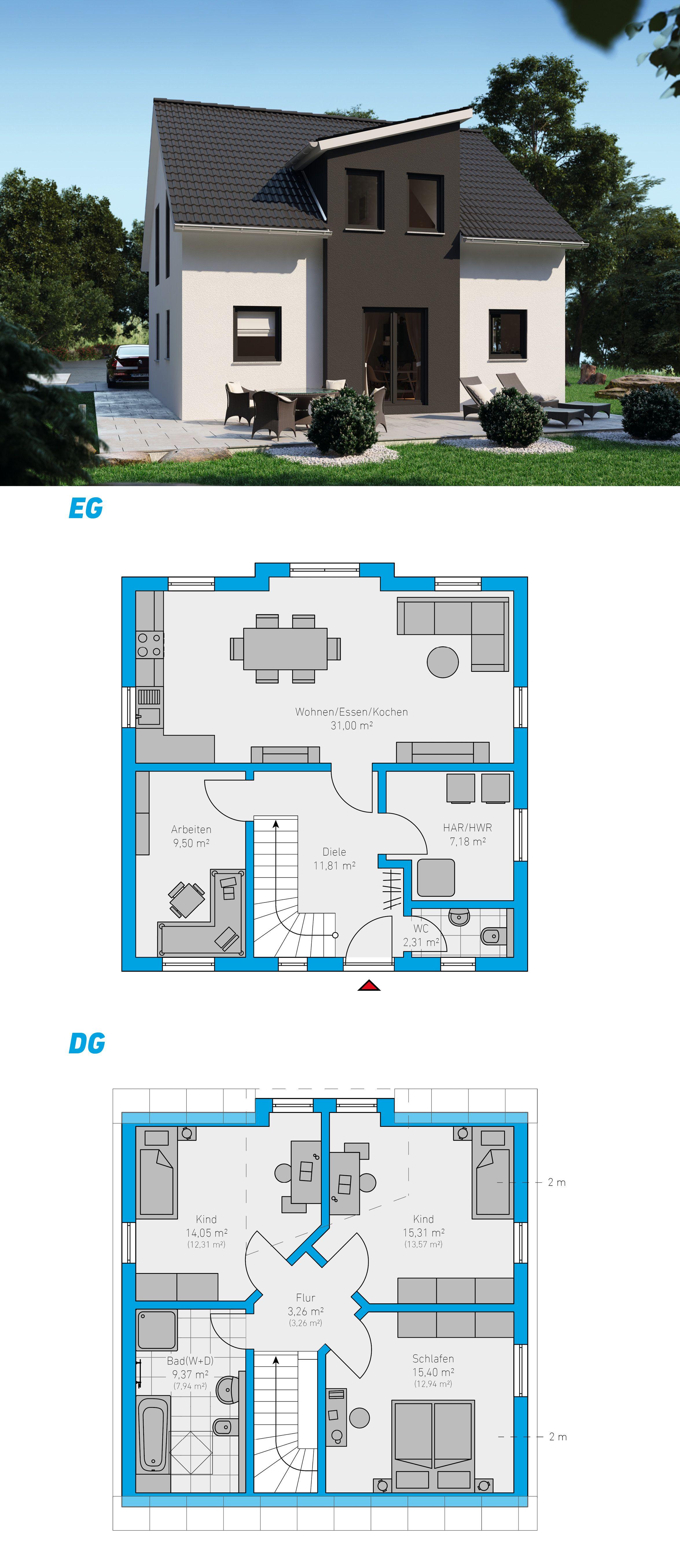 Clarus 119 schlüsselfertiges Massivhaus 1,5geschossig