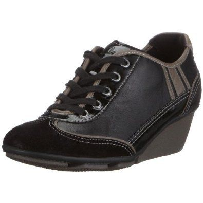 clarks ladies active air hustle bustle black leather wedge shoes uk size  4,4.5,
