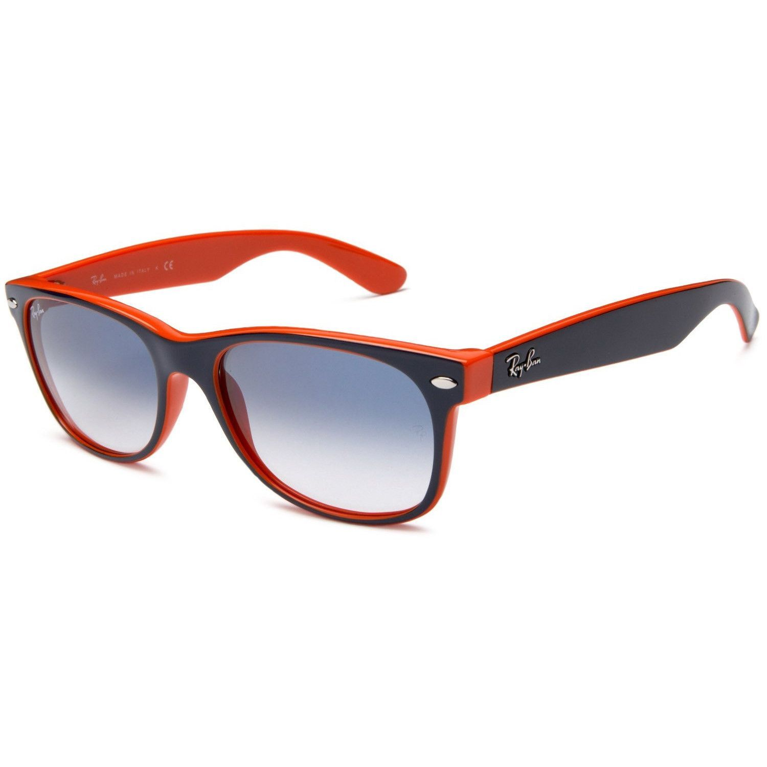 ray ban new wayfarer cheap  Ray-Ban New Wayfarer RB2132-29 Top Blue Orange Frame Light Blue ...