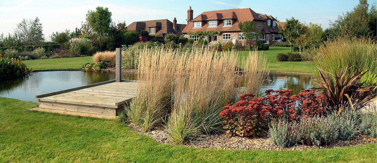 Large pond and plantings woodpecker garden and landscape for Design of farm pond pdf