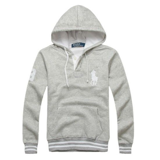 Polo Ralph Lauren Hoodie Big Pony Pullover Hoodie Gray Outlet ...