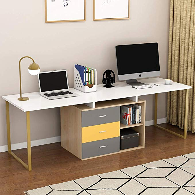 "Adjustable Double Workstation Tribesigns 87/"" Long Computer Desk for Two Person"