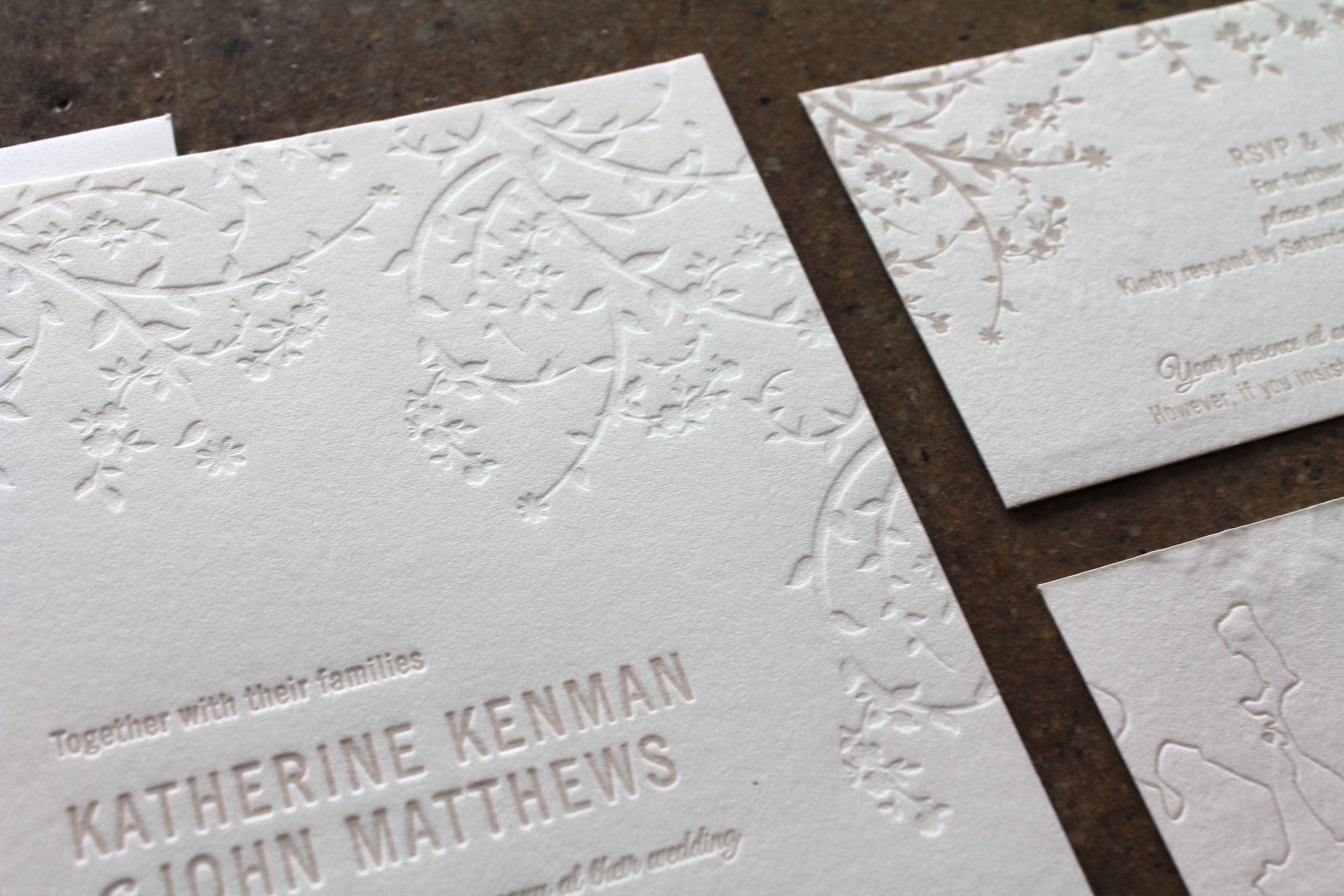 Little peach blind u natural whitsundays letterpress wedding