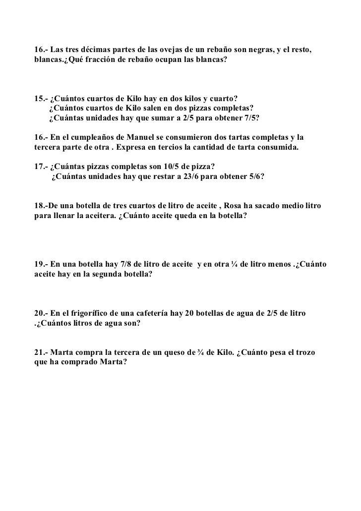 Problemas De Matematicas Decimales Y Fracciones 6º De Primaria Problemas Matemáticos Fracciones Problemas Matematicas 5 Primaria