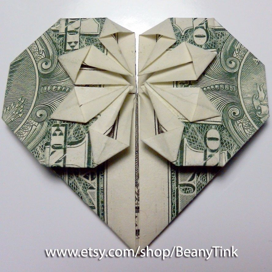 dollar origami heart with star giving pinterest