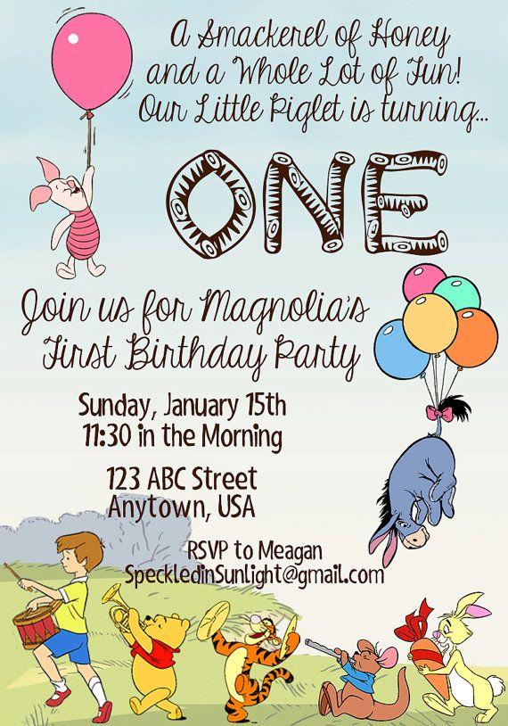 Winnie The Pooh Piglet Birthday Invitation Piglet Birthday Birthday Invitations Winnie The Pooh Friends