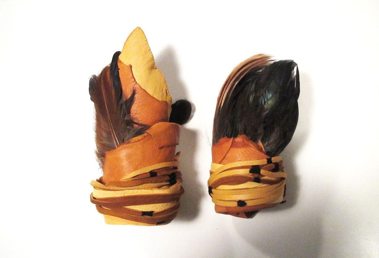 Souvenir Series - Cuffs in Gold & Saddletan with Natural Feathers