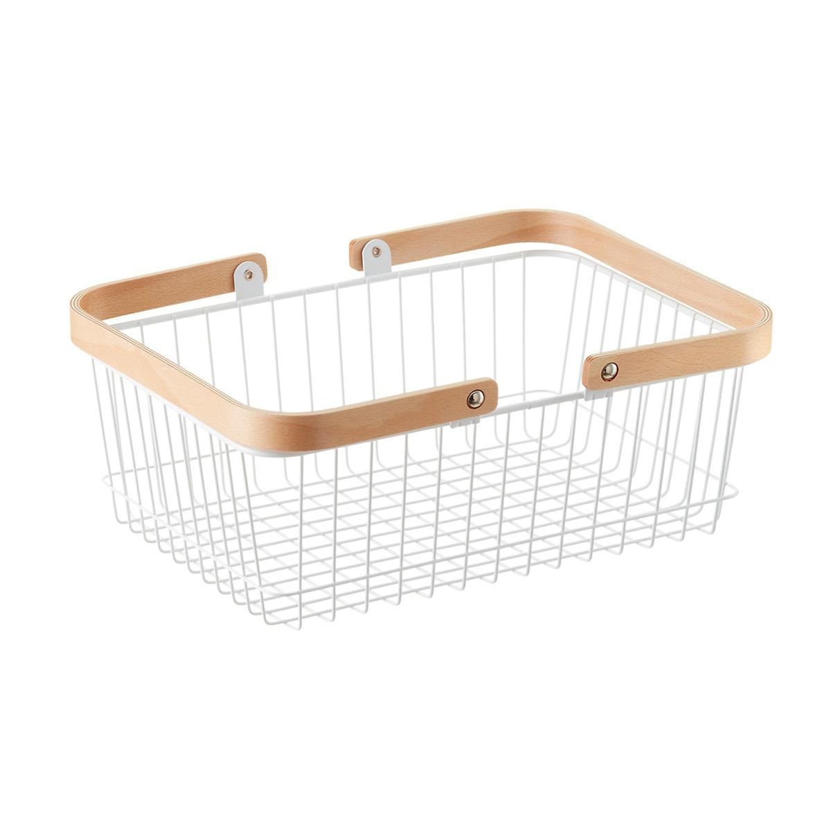 White Wire Basket with Wooden Handles | Wire basket, Container store ...