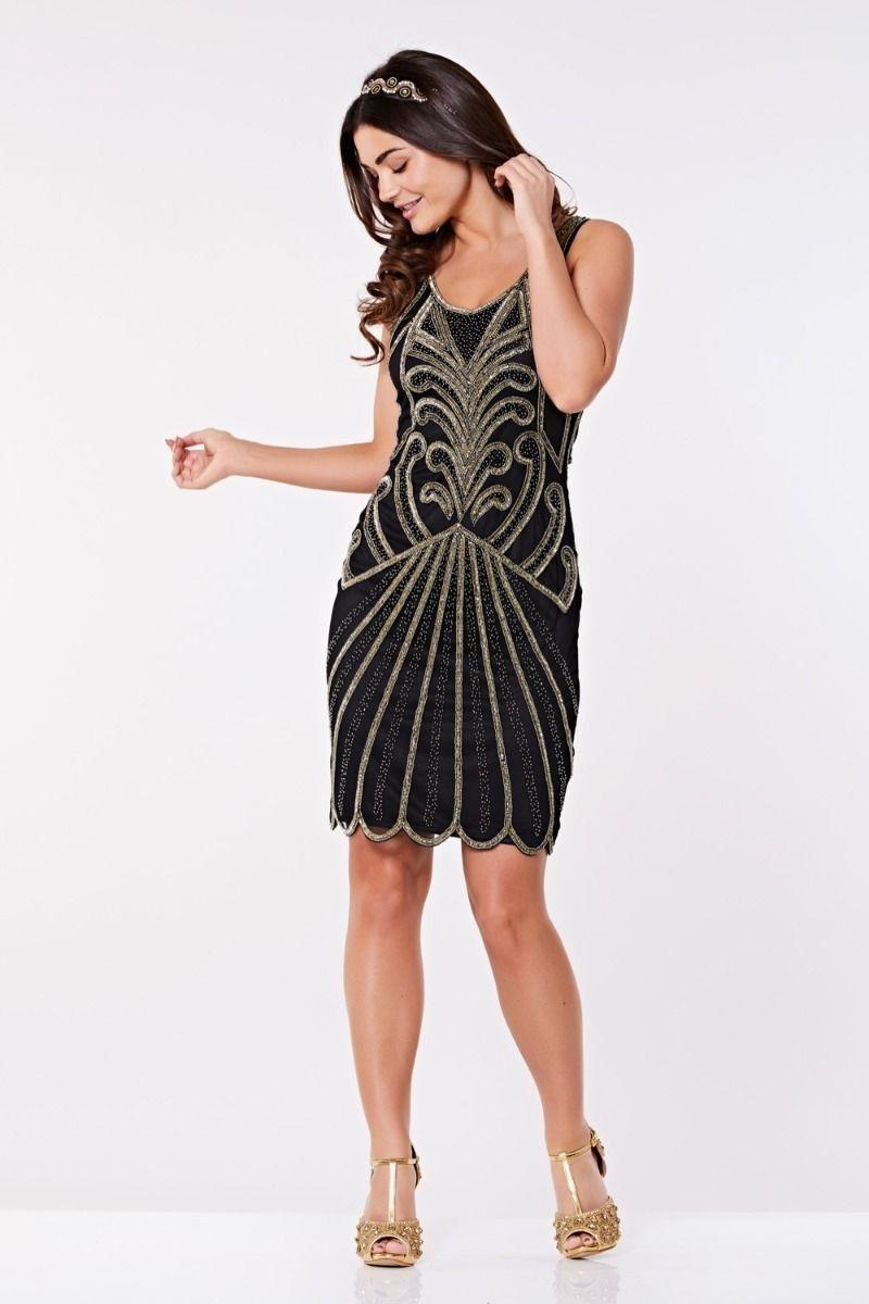 Art deco cocktail dress in black gold great gatsby u s