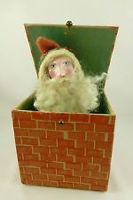 Antique Repro Santa in Chimney Christmas Spring Jack in the Box Toy Figurine