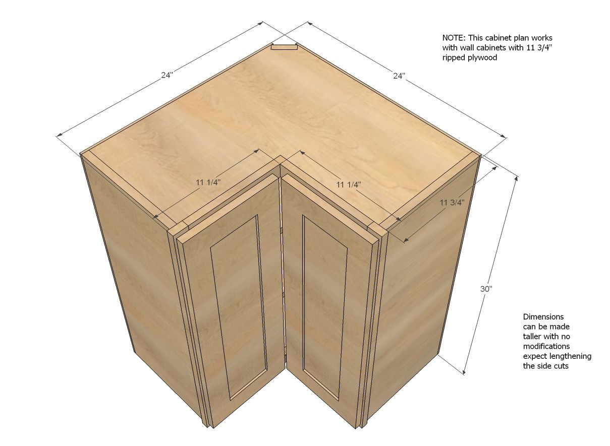 building kitchen wall cabinets undermount sinks lowes ana white build a corner pie cut cabinet free and easy diy project furniture plans