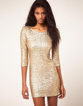 Lorry Newhouse Collection | Sleeve, Gold sequin dress and Black tights