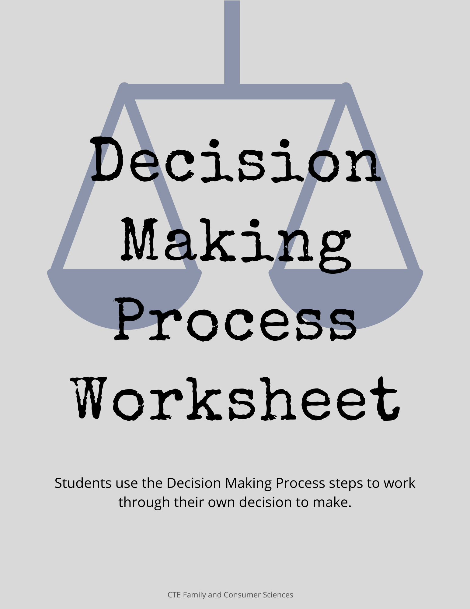 Decision Making Process Worksheet