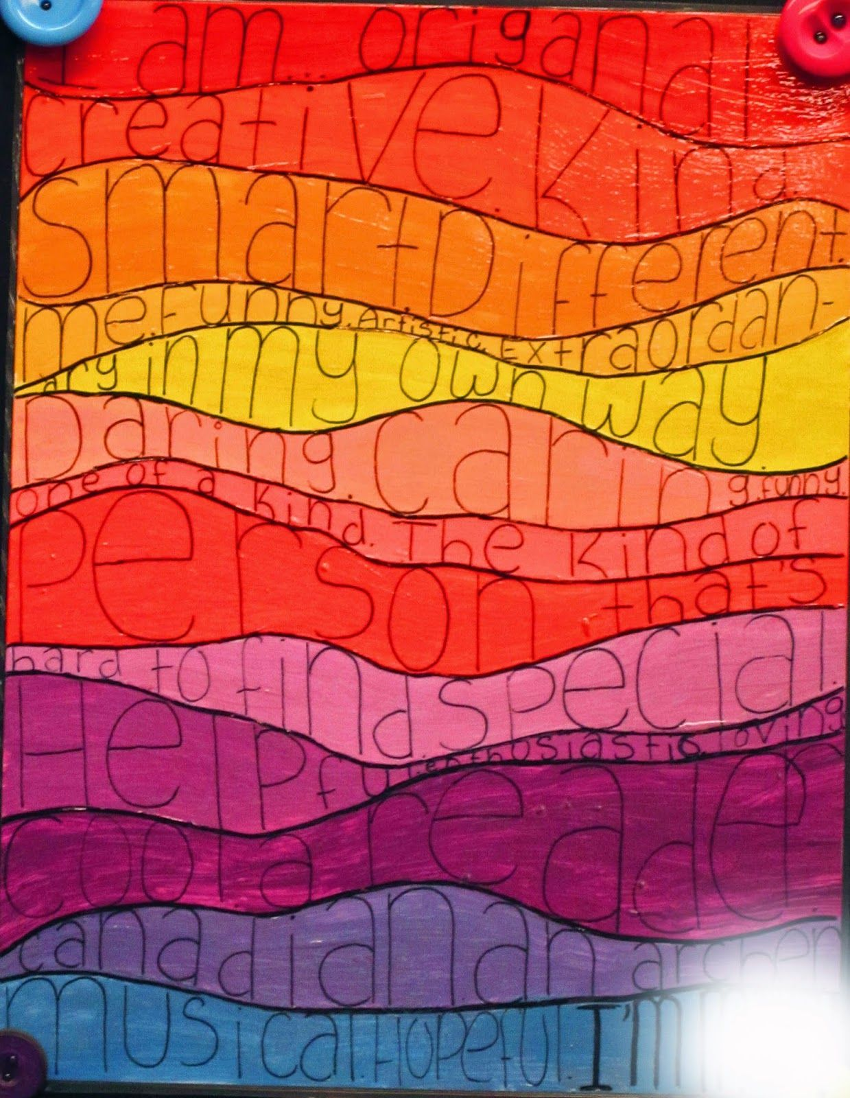 Different approach paint the colorful strips first then