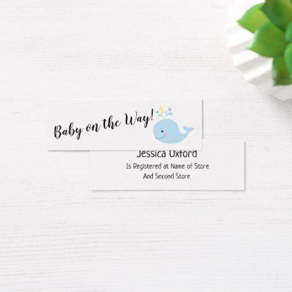 Baby gift registry w blue whale handout cards baby gift registry w blue whale handout cards black gifts unique cool diy customize negle Image collections
