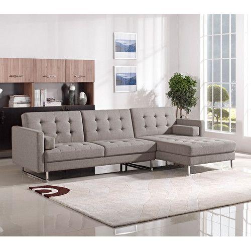 Found It At Allmodern Alsatia Sleeper Sectional Modern Sofa Sectional Fabric Sectional Sofas Sectional Sofa