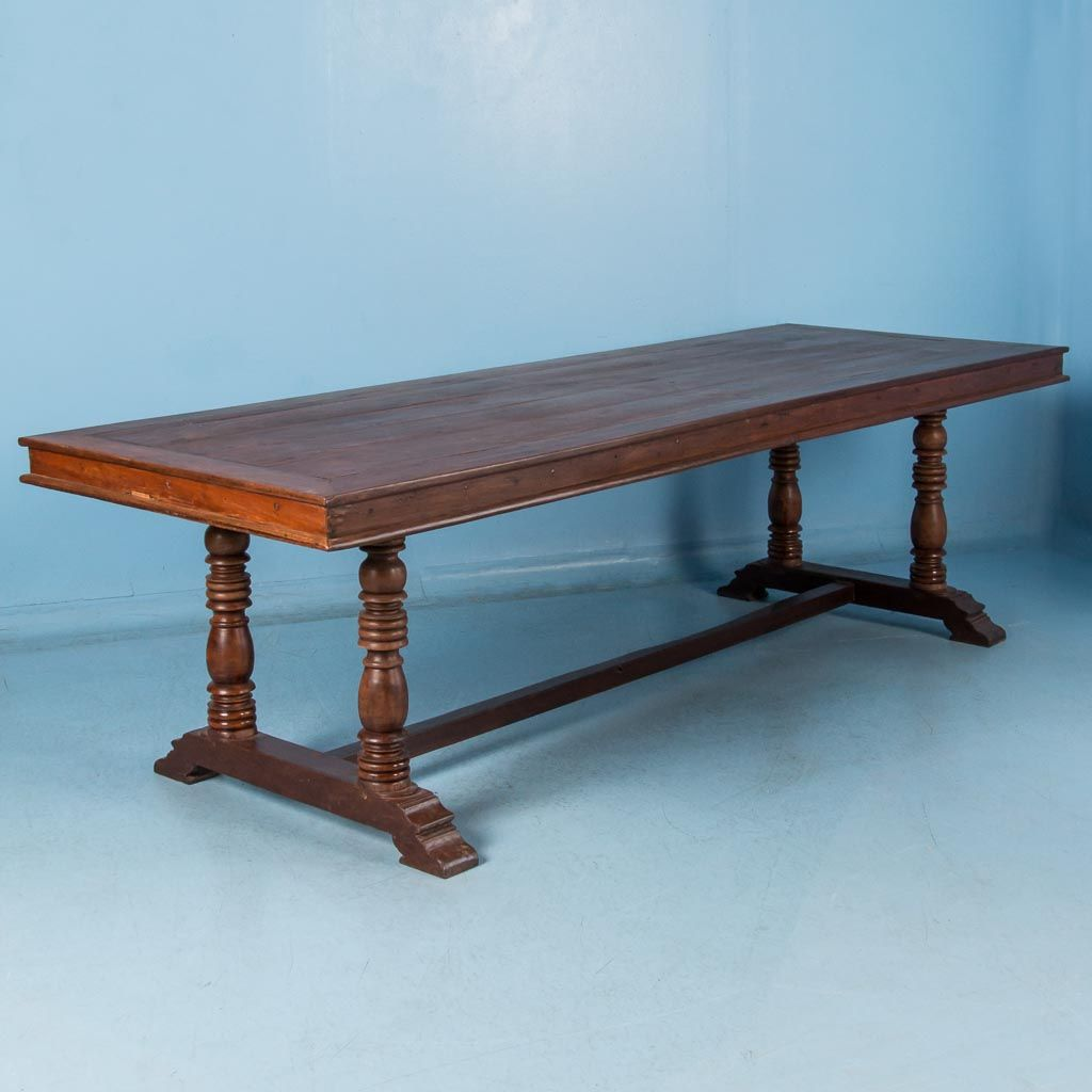 Antique 19th Century Mahogany Dining Table From The Philippines