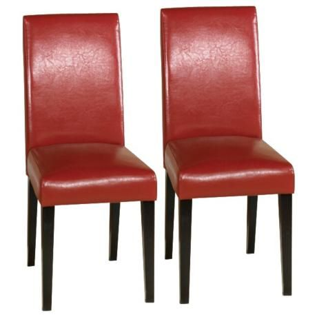 Set Of Two Red Leather Side Chairs   #J4492 | LampsPlus.com, $199.91