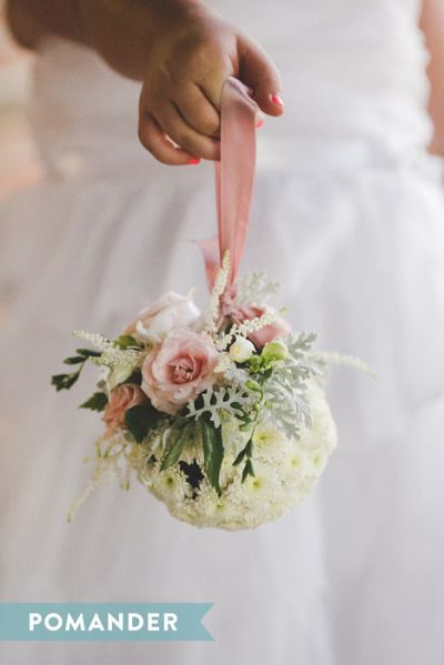 a84c026ec0b8bd A Pomander bouquet is perfect for the flower girl like the basic underneath  and the extra touch on top very cool