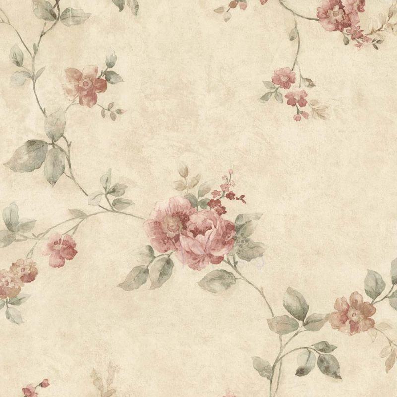 Tapetenmuster blumen design  Vintage Rose englische Landhaus Satintapeten rankende Blumen Art ...