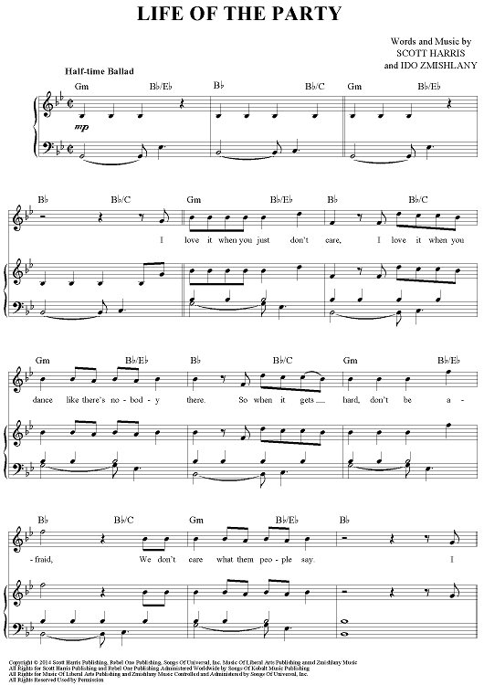 Life Of The Party Sheet Music By Shawn Mendes Shawn Mendes Sheet