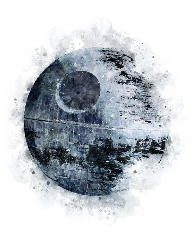 Death Star Art Print Watercolor Star Wars Printable Poster Etsy In 2021 Star Wars Prints Death Star Wall Art Star Art