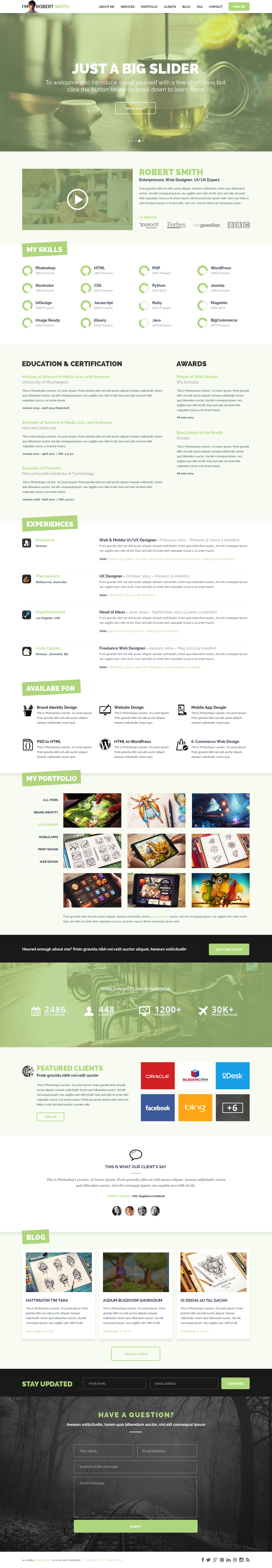 25+ Best Free Resume / CV Templates PSD One page resume