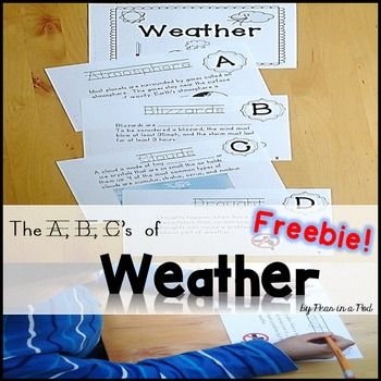 Weather Freebie! Weather Alphabet Book Freebie! This is a freebie sample taken from my larger resource. If you like this, the A-Z pack can be found here: Weather A-Z and YouTube links!Although this weather resource was written for primary classrooms, it is a read to learn book verses a learn to read book.
