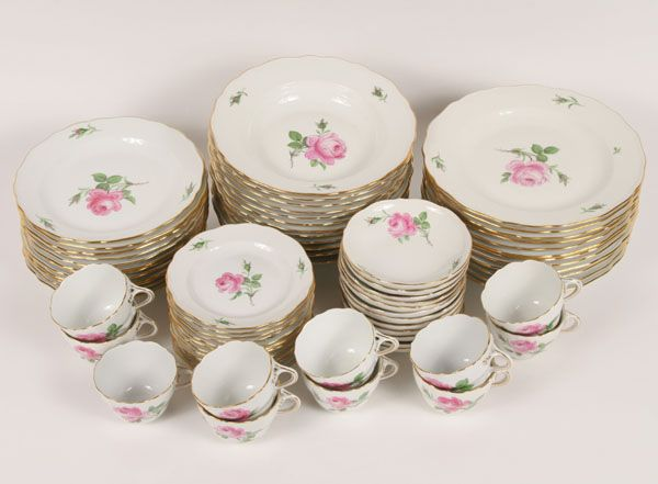 antique dishes | Meissen Dinnerware Set 12 HP Rose Porcelain | Antique Helper & antique dishes | Meissen Dinnerware Set 12 HP Rose Porcelain ...