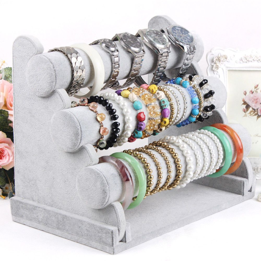3 Tier Bar Bracelet Watch Table Jewelry Organizer Holder Rack Stand Display