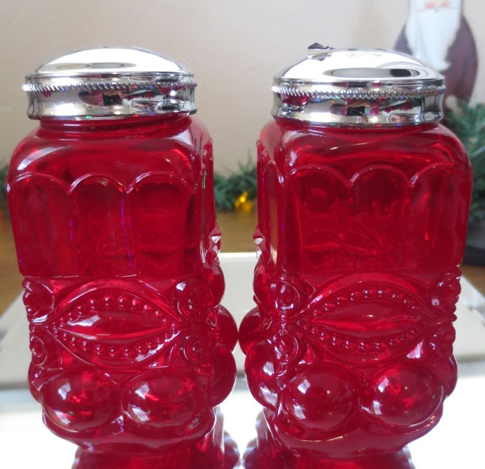 Antique MOSSER Glass EYEWINKER Ruby EAPG RED-SALT & PEPPER Shakers