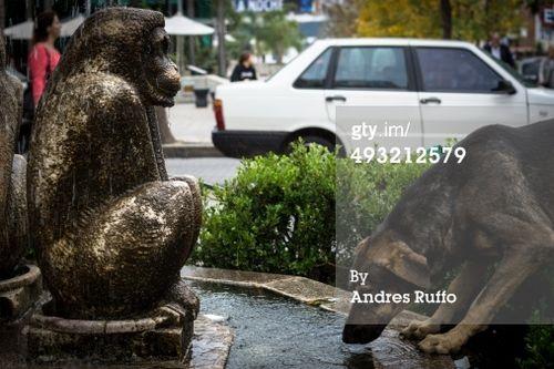 'Fuente de monos bailarines Fuente de agua, con un animal, perro, calle, se encuentra en la pequeña plaza cerca de la iglesia de la Capuchinos, frente al Paseo del Buen Pastor en la ciudad de Córdoba, Argentina