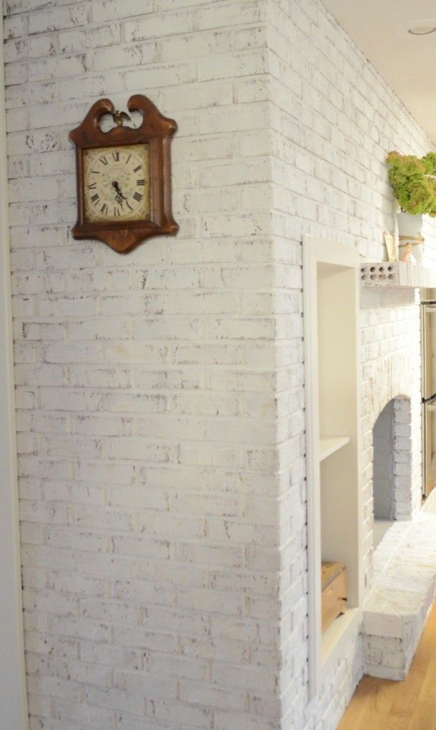 Chalk Paint Gives A Brick Fireplace And Update Brick Fireplace Brick Fireplace Wall Red Brick Fireplaces