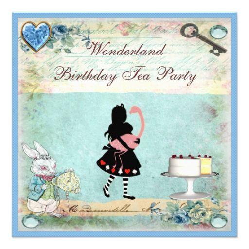 Alice & Flamingo Wonderland Birthday Tea Party Announcements