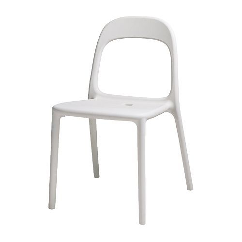 white chair ikea vintage lounge urban stackable saves space when not in use hole the seat drains water off can be used outdoors as well this is one we saw painted