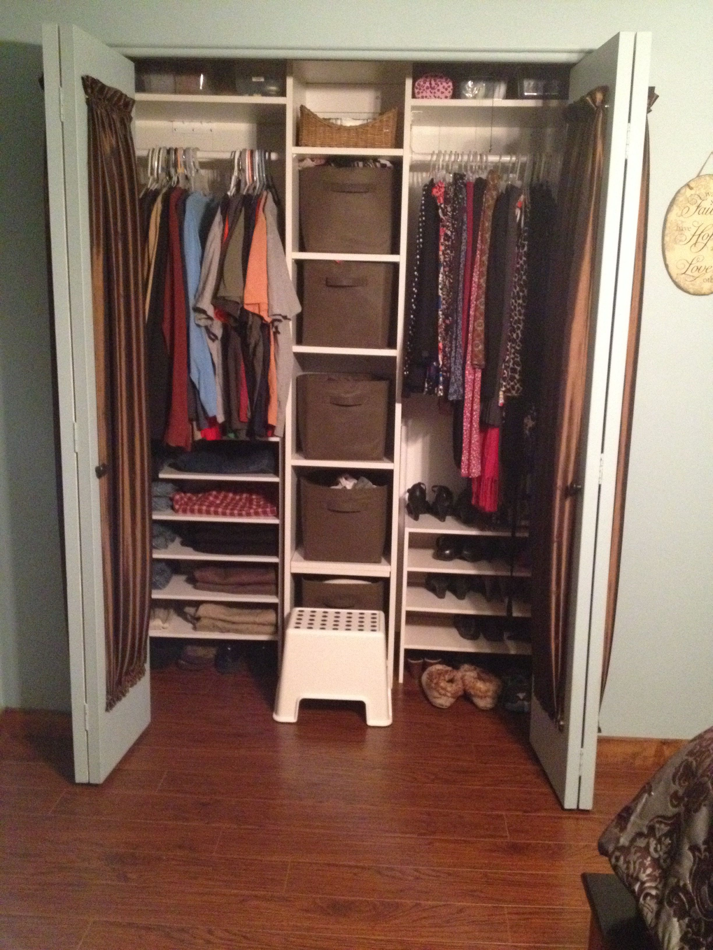 Pin By Laura P On Organize Shared Closet Closet Organization Small Closet Organization Bedroom
