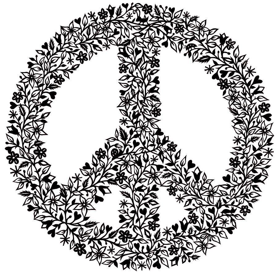 Zebra Peace Sign Coloring Pages Zebra Peace Sig...