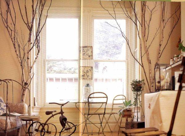 Birken im Wohnzimmer Ideen mit Zweigen und Bäumen und Holz Pinterest