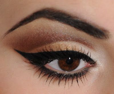 Cut crease kitty cat look:  If you use a tissue or piece of paper at an angle next to your eye, you can use that straight edge to make both eyes even!
