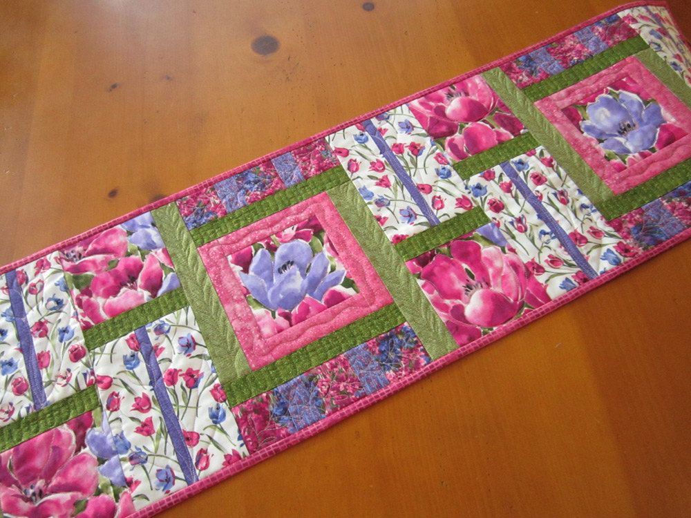patchworkmountain:  Spring Table Runner, Quilted Table Runner, Floral Table Runner, Handmade Tablerunner, Pink Purple Table Runner, Easter Table Runner, Home