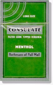 Consulate Popular Menthol Cigarettes In The 60 S And 70 S Note Phrase On Pack Long Size Sigarette Alcol Birra