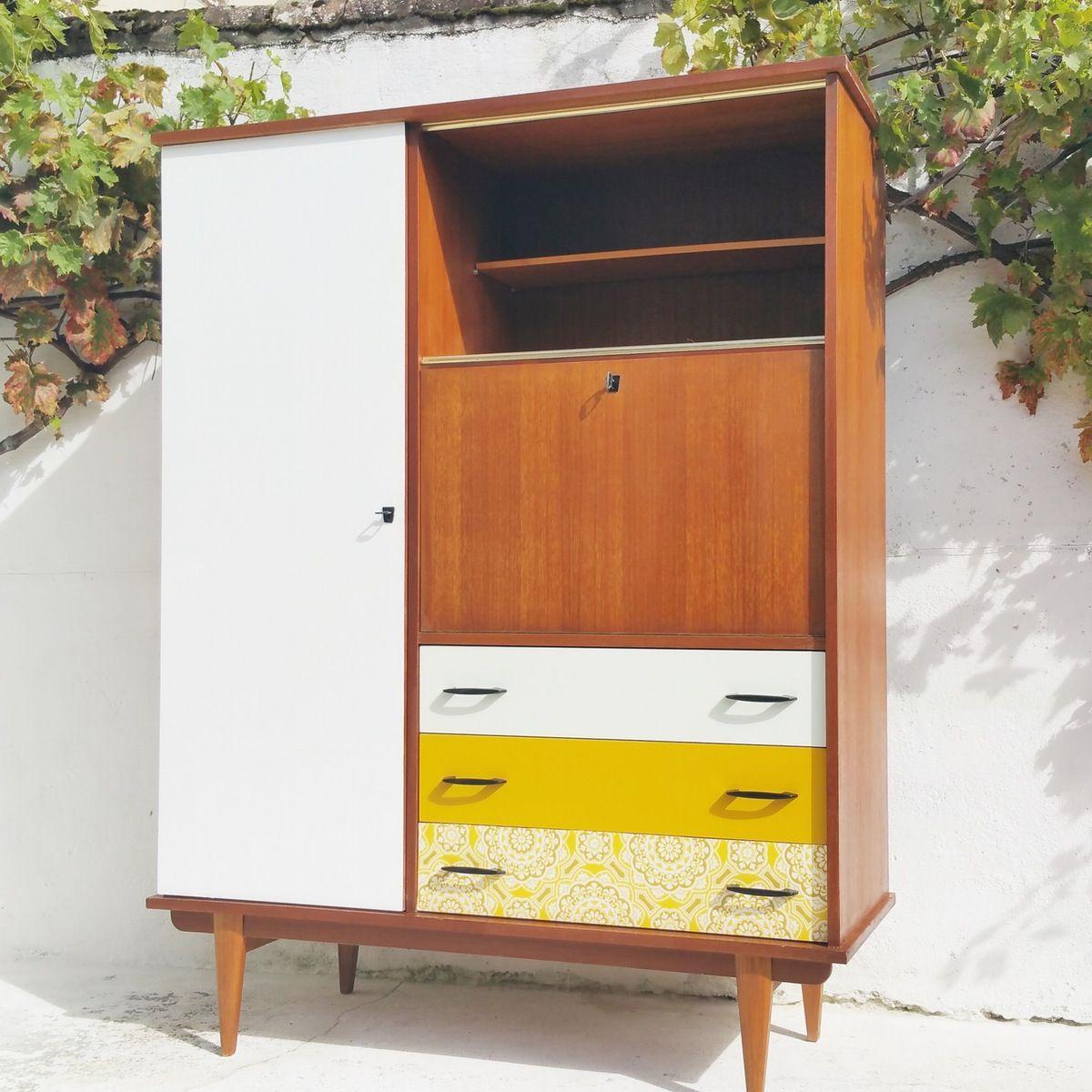 Armoire secr taire penderie vintage up cycle meuble - Transformer une armoire en bureau ...